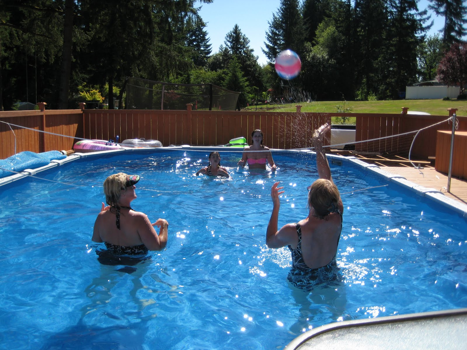Grandma grandma pool volleyball for Pool design for volleyball