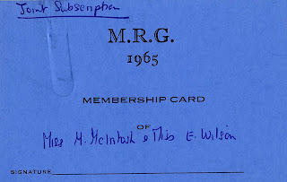 MRG membership card. LSE/MCINTOSH/7/5