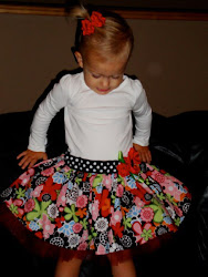 Regular waist Dress in black floral with red tulle!