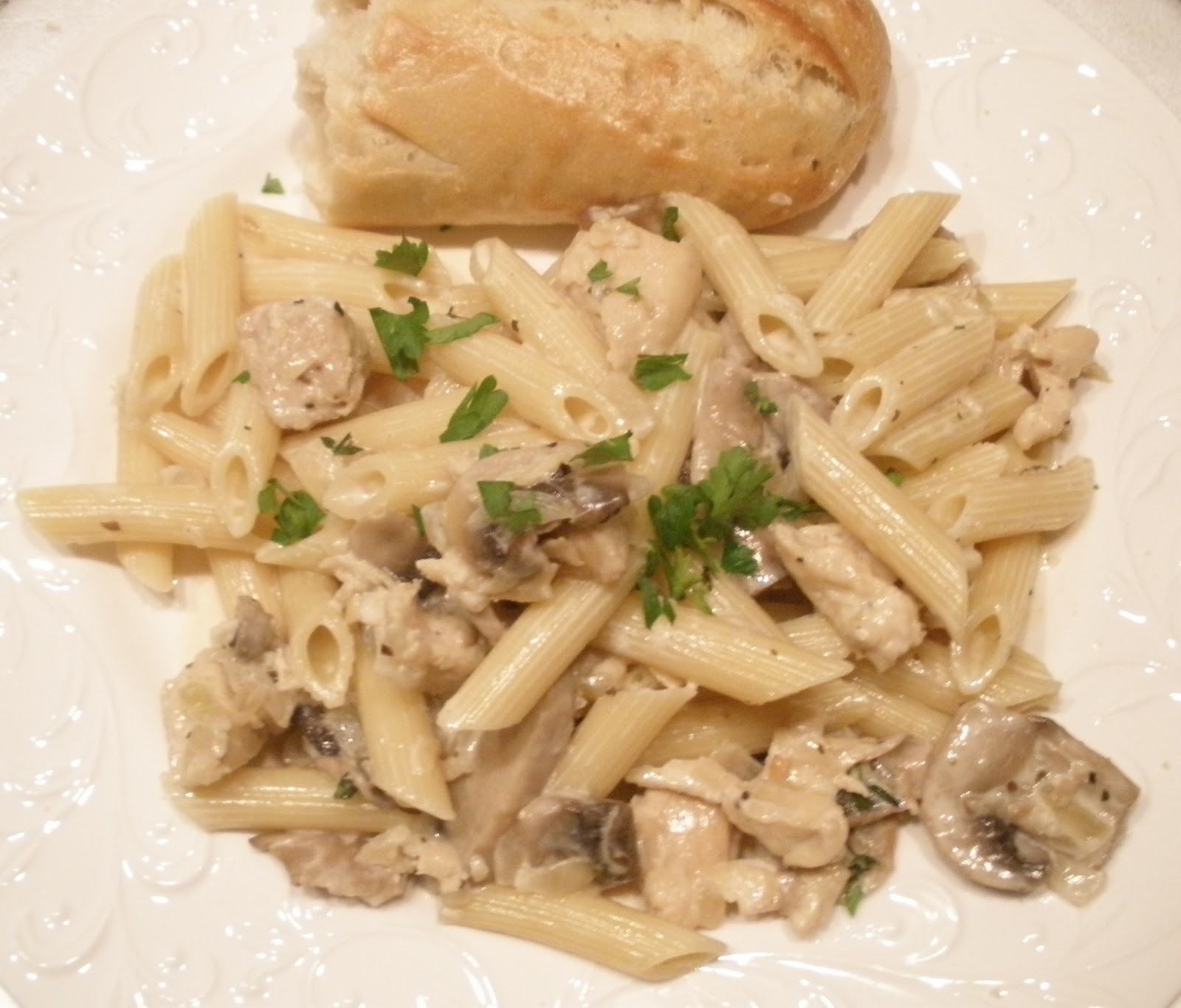 Not So Newlywed McGees: Penne with chicken and mushroom cream sauce
