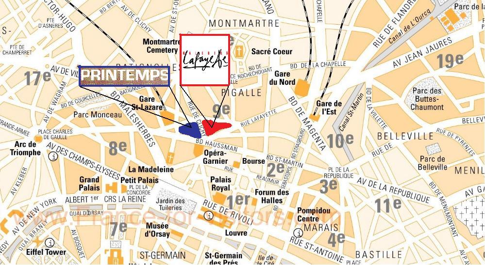 Gallery Lafayette Paris Map