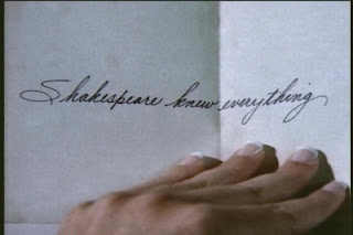 Catherine looking at Vincent's inscription of the sonnets
