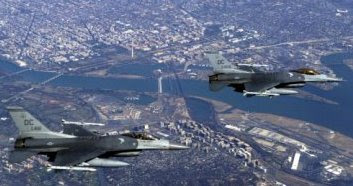 Two F-16C Fighting Falcons from the 121st Fighter Squadron, District of Columbia Air National Guard