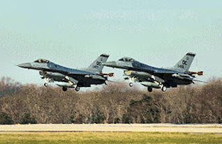 F-16s belonging to the DC Air National Guard at Andrews Air Force Base, Maryland