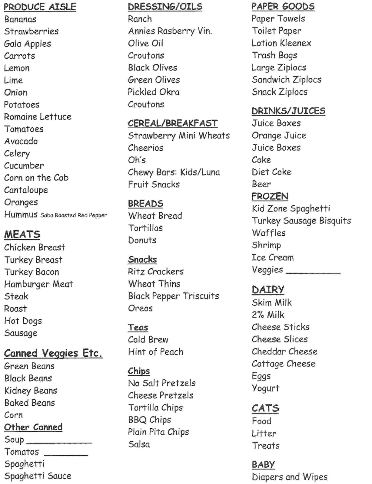 Target Grocery Aisle Layout List of the usual grocery