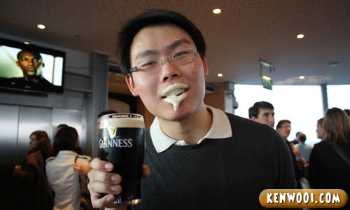 enjoying guinness