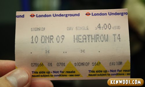 london underground train ticket