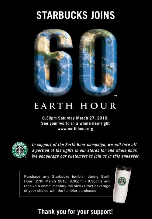 starbucks earth hour promotion