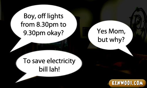 earth hour save electricity