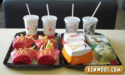 four mcdonald mcvalue lunch