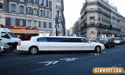 paris white limousine