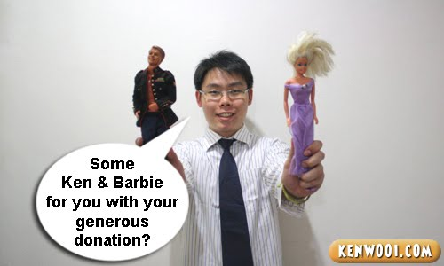 beggar with barbie and ken