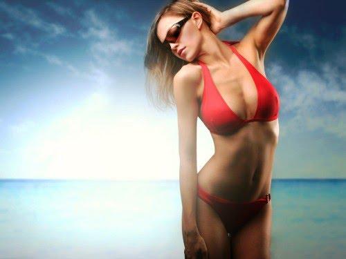 sexy red bikini girl