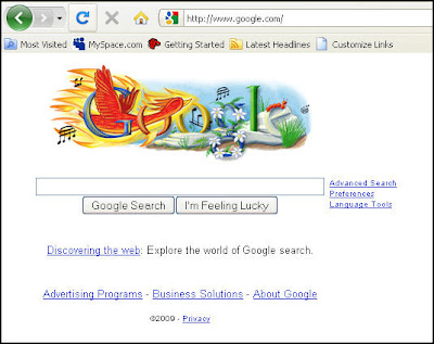 Google homepage on June 17, 2009