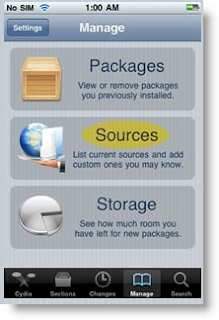 Cydia, Manage, Source