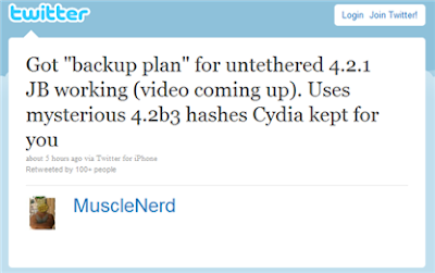 MuscleNerd Twitter Confirms Untethered Jailbreak iOS 4.2.1 Firmware