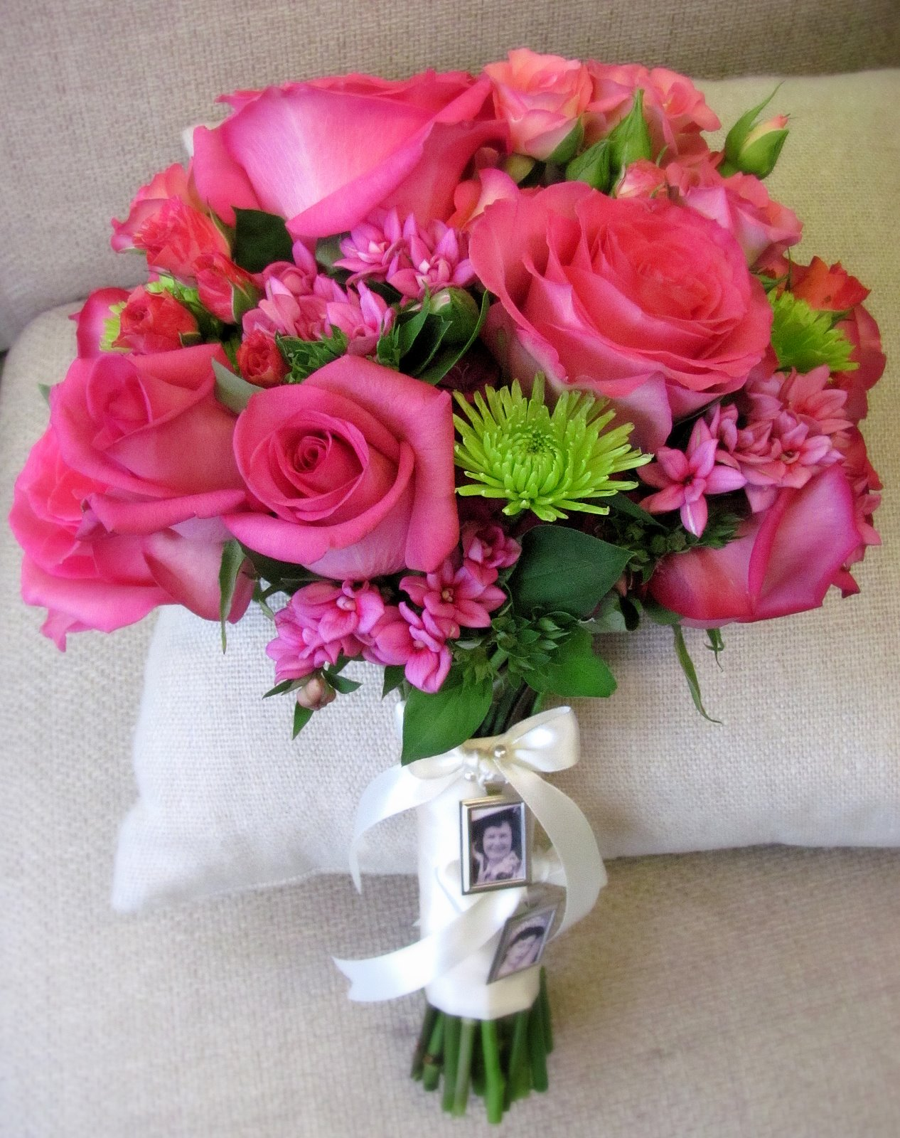 Wedding Bouquets Pink And Green: Silk wedding bouquet in hot pink ...