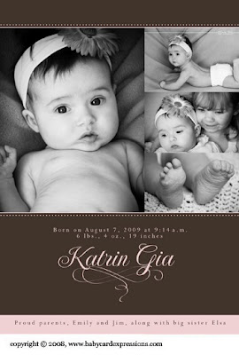 Elegant Brown and Pink Photo Baby Birth Announcement with swirl icon