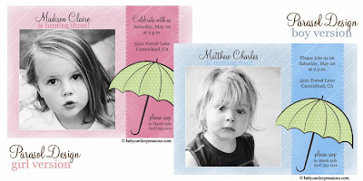 Umbrella Photo Birthday Invitation, Parasol Photo Birthday Invitation