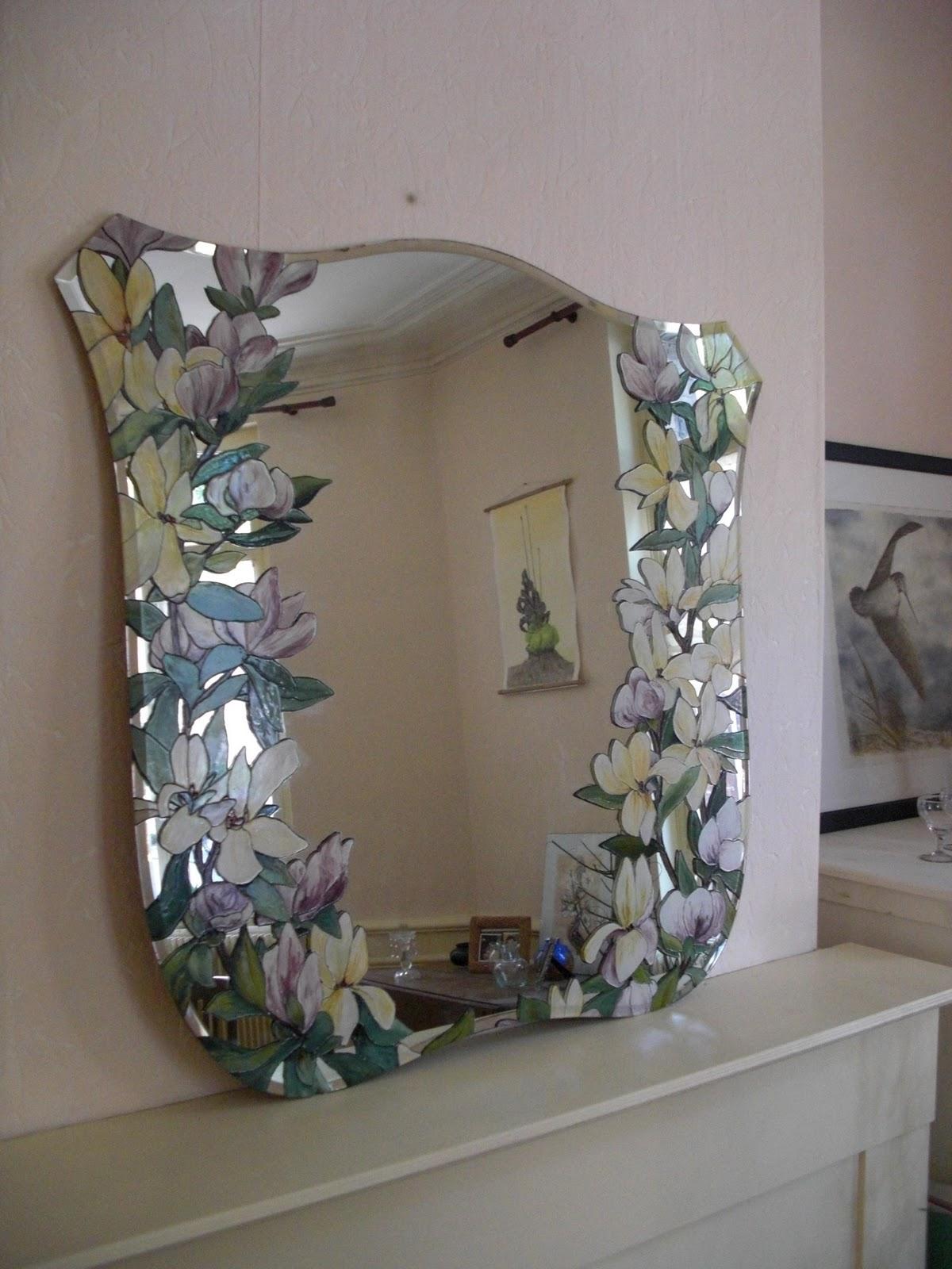 Art et nature l bauthier miroir ancien aux magnolias - Peindre miroir ancien ...