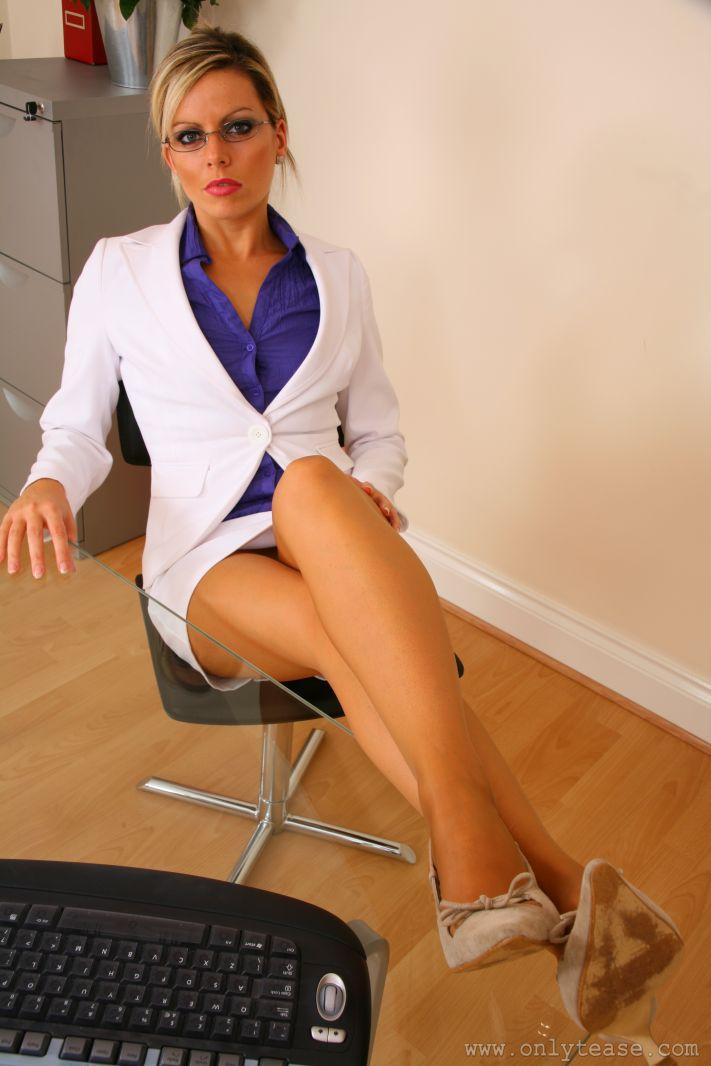Kate C Wearing A White Skirt Suit With Nude Pantyhose