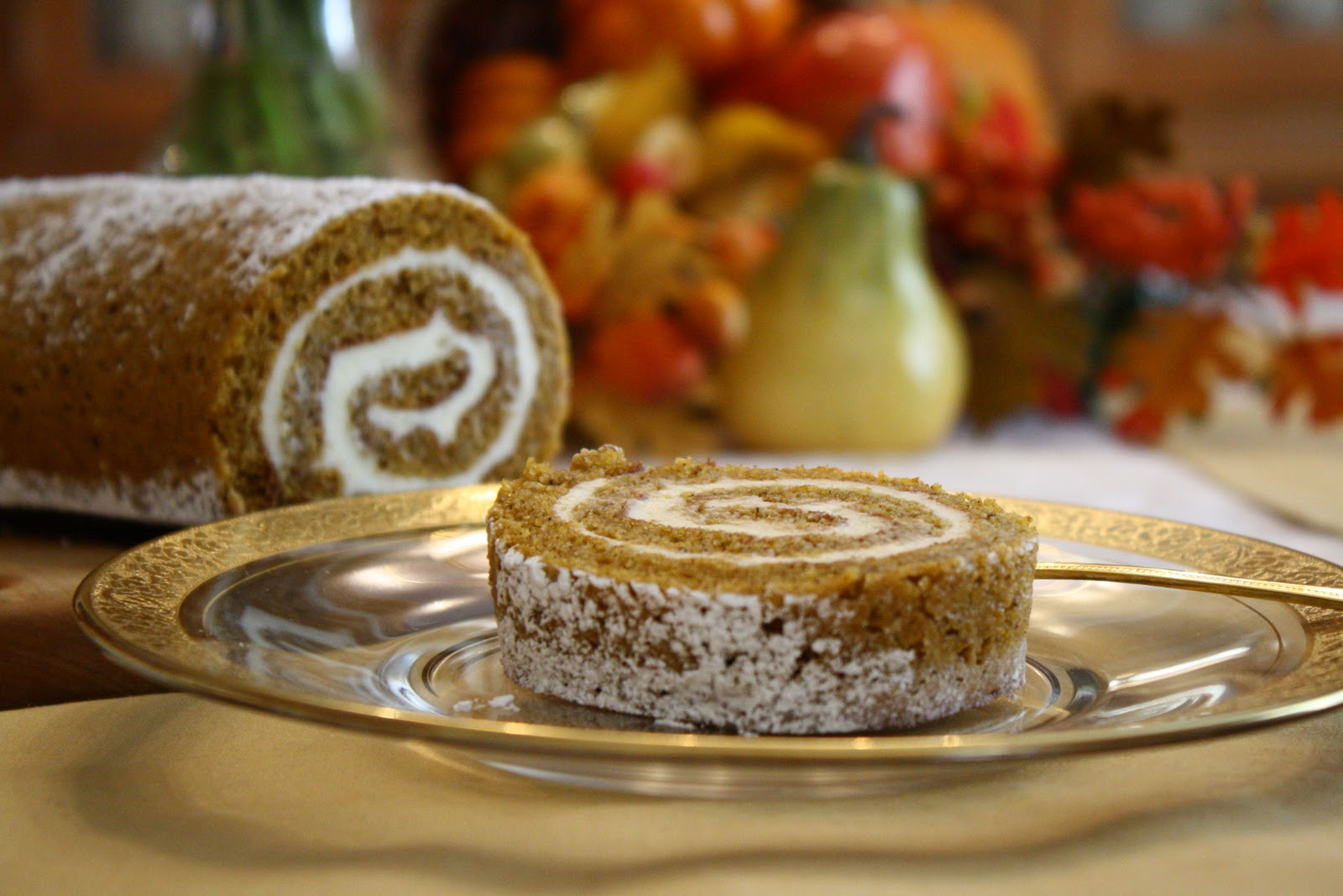 Pumpkin Roll with Cream Cheese Filling - Saving Room for Dessert