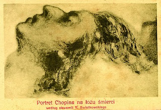 Chopin on his Death Bed, pencil drawing by T. Kwiatkowski