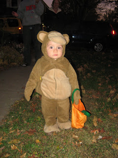 cute little monkey with trick or treat bag