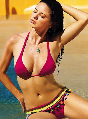 hottest hollywood actress adriana lima two piece bikini photo gallery