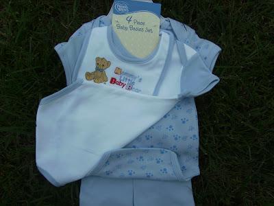 NWT Blue 4 Piece Baby Boy Basics Set 3 Months with Bib & Shorts
