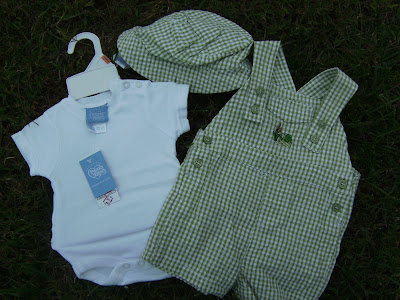 NWT 3 Piece Green Plaid Baby Set or Outfit for Newborn Boy