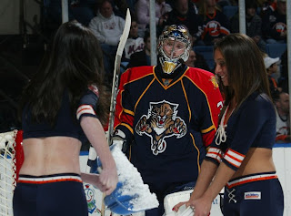 Craig Anderson gives the ice girls some attention