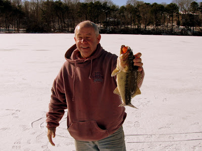Ice Fishing on Ministers Pond, Eastham, MA