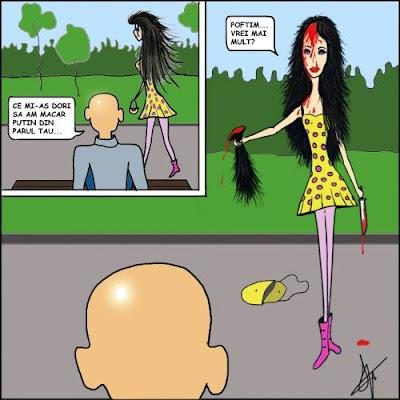 comic gluma benzi desenate Un baiat chel pe banca in parc ii face un compliment depsre par unei fete care merge pe alee fata isi taie din parul ei si ii face cadou