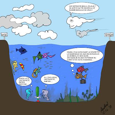 Comic benzi desenate Sectiune prin Dunarea vara pesti care pleaca la bulgari la nisipurile de aur decat sa stea in Romania