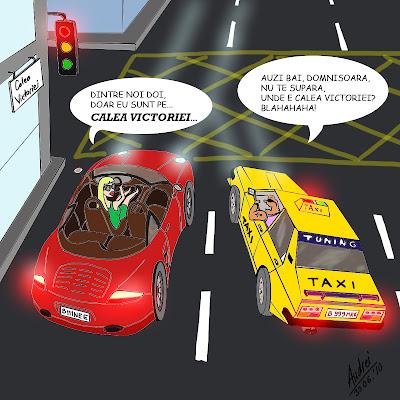 Comic benzi desenate O discutie intre un taximetrist si o fata intr-o masina scumpa pe Calea Victoriei in care taximetristul se da smecher iar fata are replica potrivita