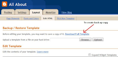 Download back-up copy template