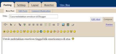 Cara meletakkan emoticon di Blogger