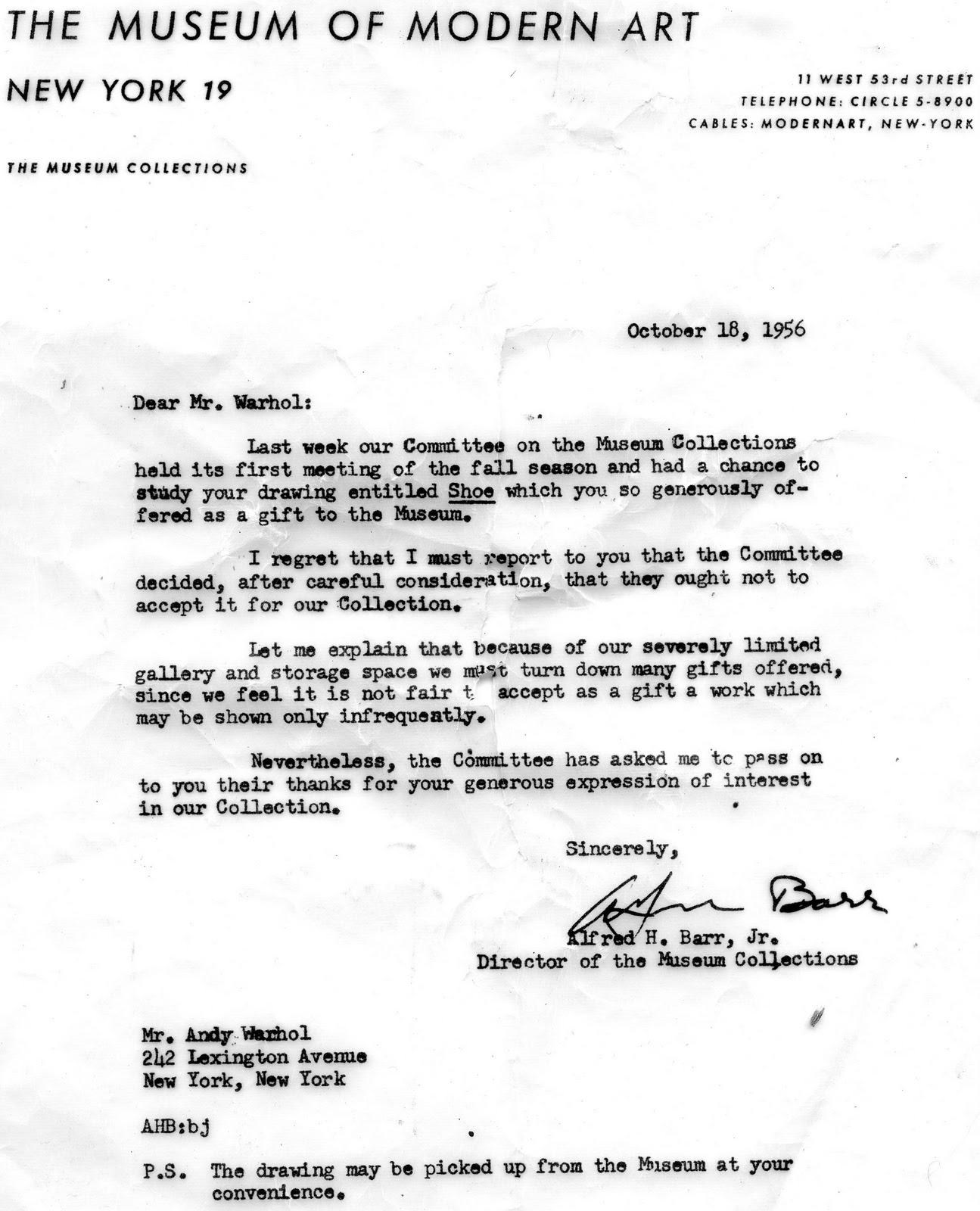 A Letter Of Rejection To Andy Warhol C