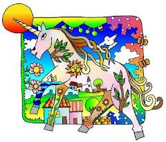 Imagen de unicornio en un pueblo