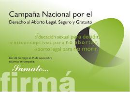 Apoyo que el proyecto de Ley de la Campaña Nacional por el Derecho al Aborto Legal, Seguro y Gratui