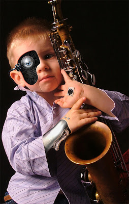 cyborg kid saxophone child nilo photoshop world