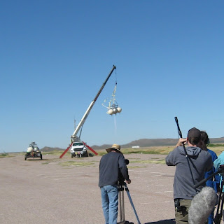 Armadillo Aerospace flies Pixel under a tether in a test flight prior to the 2006 Wirefly X PRIZE Cup. Photo Credit: W. Pomerantz, X PRIZE Foundation