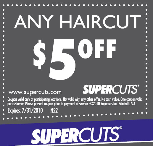 Find coupons, offers, promotions, specials, and discounts on haircuts, color and other hair services at Supercuts salons near me. Skip To Main Content Supercuts gift cards make super stocking stuffers.