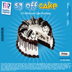 COUPON 3 off Baskin Robbins Ice Cream Cake Funtastic Life