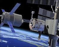 L'ATV s'approchant automatiquement d'ISS grâce à ses systèmes GPS et laser. Document CNES.