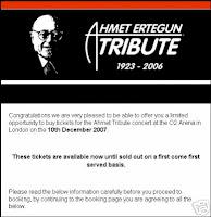 Billet passcode pour le cocnert de led Zeppelin du 10 décembre 2007. ce billet vaut 2150£ soit 3000 €.