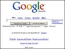 Le moteur de recherche Google version Polynésie (Vanuatu).