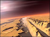 Simulation d'une vue aérienne de Valles Marineris. Document T.Lombry.