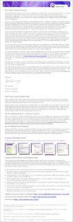 La lettre envoyée par Sal Iannuzzi, le président et CEO de Monster, à tous ses membres entre le 23 et le 30 août 2007. Cliquer sur l'image pour l'agrandir.
